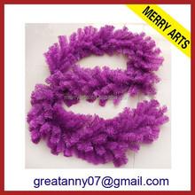Wholesale plastic artificial purple christmas wreath decoration colors