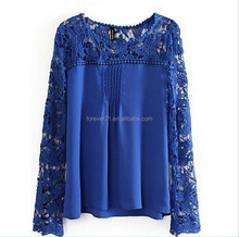 2015 Ladies Girls Long Sleeve Lace T-shirt wholesale, total 8 colors
