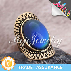 Antique Gold and Silver Plating Oval Shape Color Changing Mood Ring Stone Fashion Ring