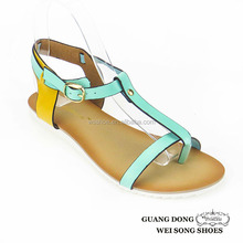 China wholesale colors matching flat branded ankle strap buckle ladies comfort sandals