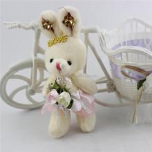 Fashion soft cute mini rabbit with flower plush stuffed toy