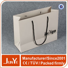 White apparel packaging die-cutted paper gift bag with black tape