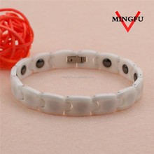 personalized negative ion men white ceramic bracelet