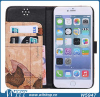 Luxury Phone Case for iPhone 6 Plus Leather Flip World Map Mobile Accessories