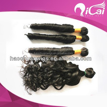 Qicai brazilian curl human hair sew in weave,cheap human hair weaving