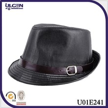 Autumn and winter imitation black leather hat fedoras jazz hat