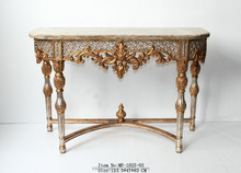 Guangzhou antique tables support antique gold silver finish marble top
