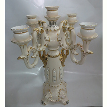EF259 Chinese Gold painted Fashion luxury modern chinese ceramic craft candle holder