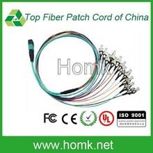 Mpo / FC 0.9 mm 12 couleur optique Patch cord, 12 core break out Patch cordon