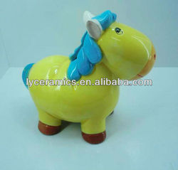 Ceramic bank money bag with horse shape