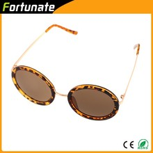 2015 Hot Sale Men Round Sunglasses with Metal Frame in Leopard Pattern