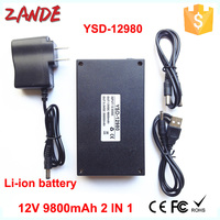 Multi-function 12V 9800mah/5V 20000mah 2 in 1 li-ion polymer Rechargeable batteries with USB output