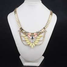 Wide metal chain necklace inlaid crystal temperament wings Accessories