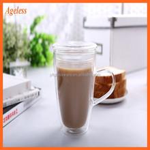 Double wall glass juice mug/glass coffee tea cups/drinking glasses