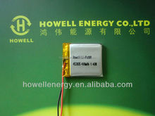 453835 3.7V 400mAh lithium polymer bttery 1.48Wh