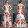 Grace Karin One Shoulder Flower Pattern Satin Ball Gown Evening Dress Pattern CL007526-1