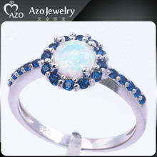 Top Quality 925 Sterling Silver White Opal &Sapphire Ring Setting