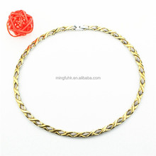 Negative ion 14k plated gold chain