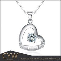 CYW new heart jewelry wholesale 925 Sterling silver pendants natural zircon gemstone jewelry stock