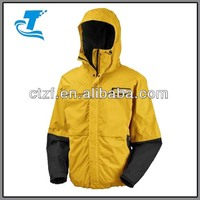 2014 Men Yellow Waterproof Hooded Jacket