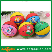 promotional mix color rubber basketball with custom design