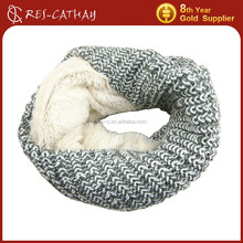 2015 winter warm knitted neck warmer with fake fur