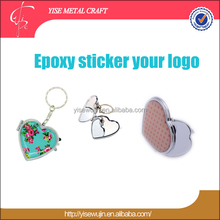 Custom Garphic with Logo Epoxy Sticker Dome Heart Advertising Souvenir Promotional Compact Pocket Hand Held Makeup Mirror