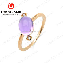 2015 Hot Sale Amethyst 10ct Gold Simple 1 Gram Gold Ring Designs for Kids