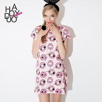 Women Cute Kiss Candy Print Mini Dress Wide Sleeve Chiffon Dress for Wholesale Haoduoyi