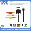 1.5m high quality HDMI to 3RCA VGA Extension Video Cable for Computers
