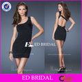 rs19474 un hombro rebordeó el mini vestido corto Negro de un hombro vestido de fiesta corto Crystal