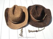 Wholesale girl kids baby hand made crochet straw hats H-3