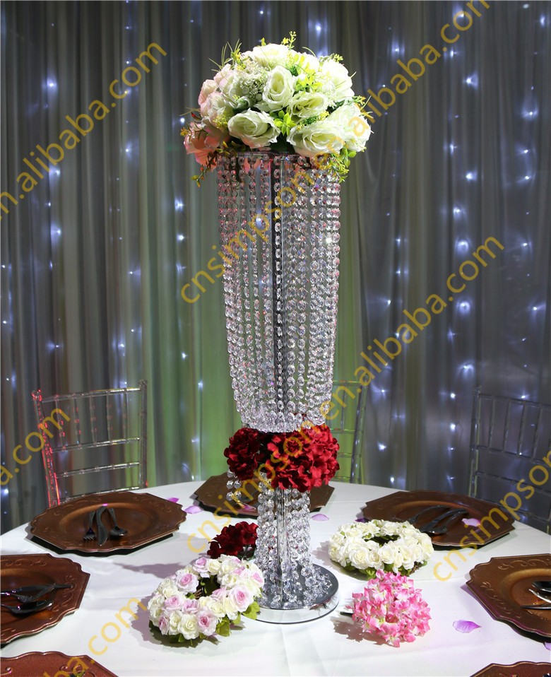 80cm Tall Crystal Chandelier Flower Stand For Wedding