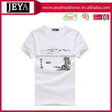 Quick Dry Anti-Pilling Cotton Tshirt White Plain T-shirts 3D T-shirt With Landscape Painting