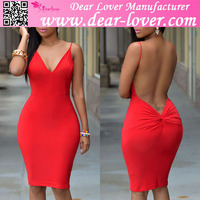 Red Wrap Backless Celebrity Bandage Knee Length Bodycon Dress Online Wholesale Shop