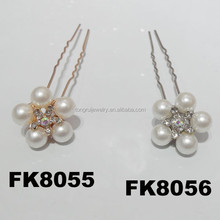wholesale chinese pearl crystal flower hairpins for hair