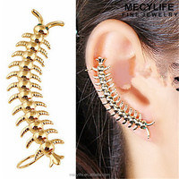 MECY LIFE hot sale cheap unisex single centipede gold earrings 2012 new design