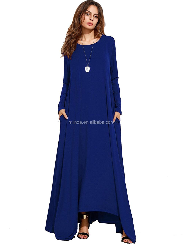 Long Sleeve Maxi Dress Women Polyester Spandex Casual Loose Pocket ...