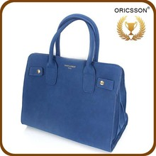 Export wholesale blue tote bag fashion pu blue handbag designer