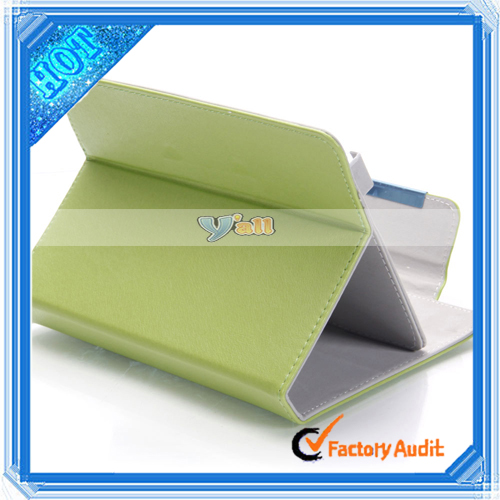 "Stylish Single-Push Litchi Pattern Clip-on PU Leather kids tablet case with handle for 7.85"" Tablet PC Green"