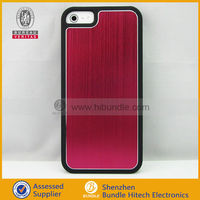 Red Luxury Brushed Metal Aluminum Chrome Hard Case For iPhone 5