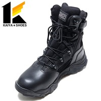 Hot sell dark navy men military combat boots for sale with side zipper