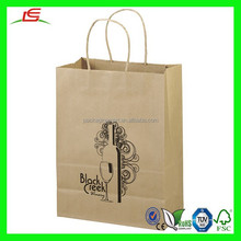 NZ021 Fancy 10x13 Eco Shopper Wine Package Bag Recycle Brown & White Paper Bag Wholesale with Handle