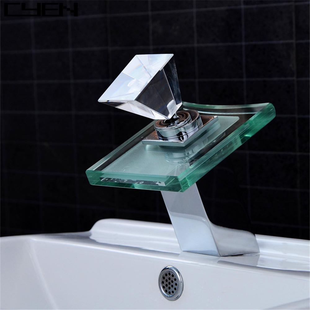 Bathroom Chromed Single Hole Crystal Handle Waterfall Faucets Led ...