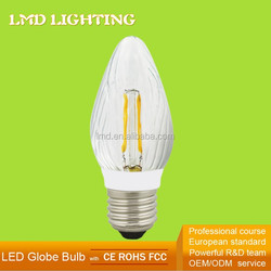 CE GS FCC 2700K Warm White Faceted Glass With Plastic Socket 230V Chandeller LED Lighting Fixture E27 LED Candle Bulbs 2W