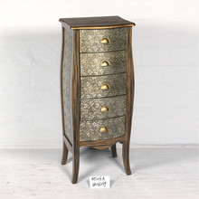 HOT SALES!!! five drawer carving aluminum tall wood cabinet