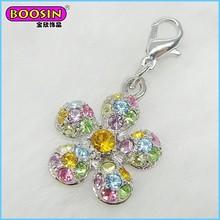 Boosin Wholesale fashion jewerly colorful shiny rhinestone flower charm