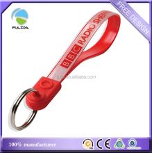 custom pvc plastic cap waterproof red ad loops keyring