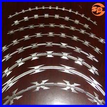 BTO-28 lap spiral electro-galvanized razor barb wire/razor wire installation