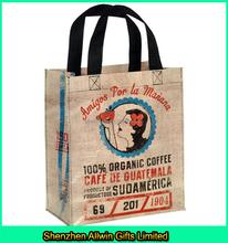 Promotional Design Coffee Color Custom Logo Jute Shopping Tote Bag